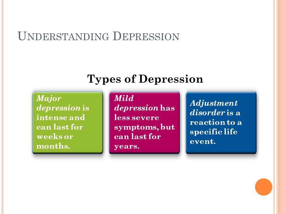 U NDERSTANDING D EPRESSION Major depression is intense and can last for weeks or months.
