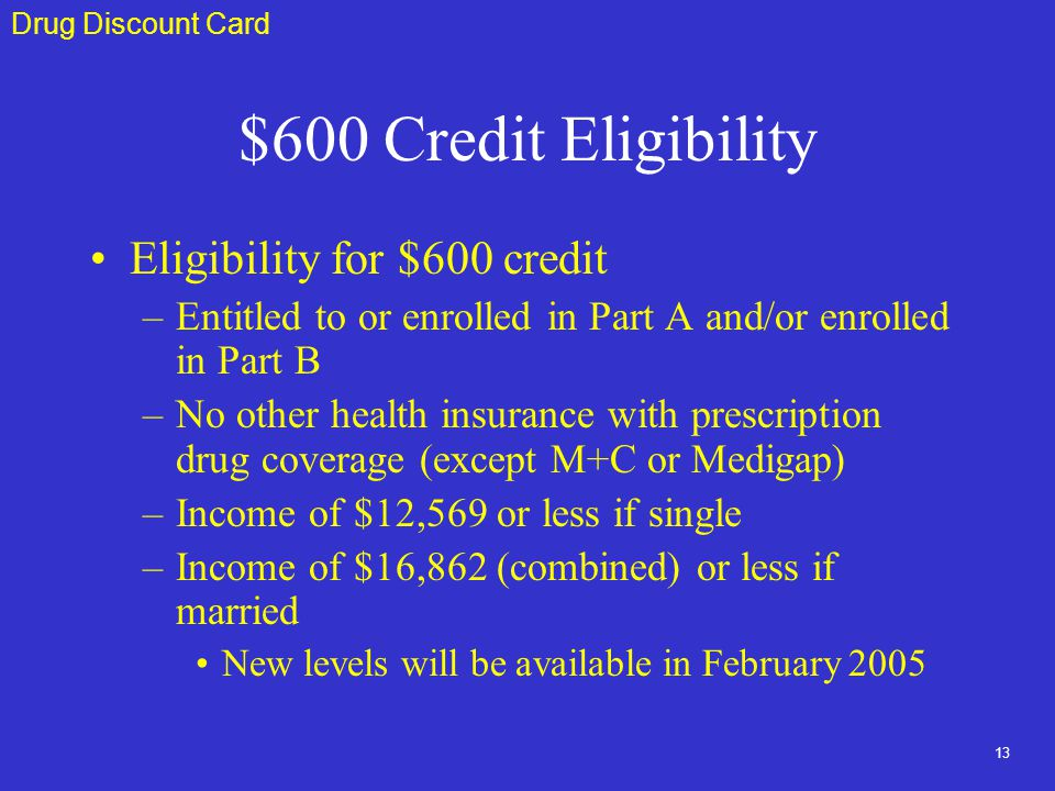 13 $600 Credit Eligibility Eligibility for $600 credit –Entitled to or enrolled in Part A and/or enrolled in Part B –No other health insurance with prescription drug coverage (except M+C or Medigap) –Income of $12,569 or less if single –Income of $16,862 (combined) or less if married New levels will be available in February 2005 Drug Discount Card