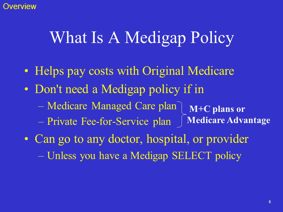 6 What Is A Medigap Policy Helps pay costs with Original Medicare Don t need a Medigap policy if in –Medicare Managed Care plan –Private Fee-for-Service plan Can go to any doctor, hospital, or provider –Unless you have a Medigap SELECT policy M+C plans or Medicare Advantage Overview