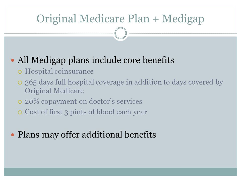 Original Medicare Plan + Medigap All Medigap plans include core benefits  Hospital coinsurance  365 days full hospital coverage in addition to days covered by Original Medicare  20% copayment on doctor's services  Cost of first 3 pints of blood each year Plans may offer additional benefits