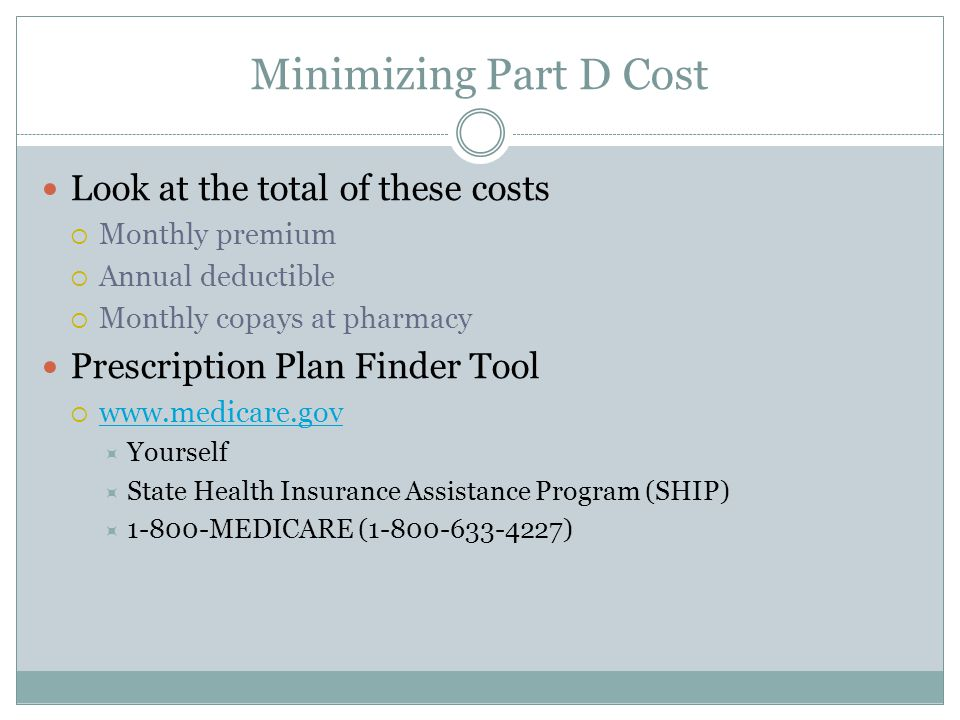 Minimizing Part D Cost Look at the total of these costs  Monthly premium  Annual deductible  Monthly copays at pharmacy Prescription Plan Finder Tool       Yourself  State Health Insurance Assistance Program (SHIP)  MEDICARE ( )