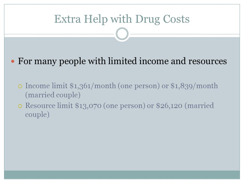 Extra Help with Drug Costs For many people with limited income and resources  Income limit $1,361/month (one person) or $1,839/month (married couple)  Resource limit $13,070 (one person) or $26,120 (married couple)