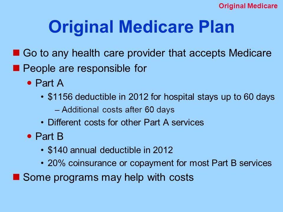 Original Medicare Plan Go to any health care provider that accepts Medicare People are responsible for Part A $1156 deductible in 2012 for hospital stays up to 60 days –Additional costs after 60 days Different costs for other Part A services Part B $140 annual deductible in % coinsurance or copayment for most Part B services Some programs may help with costs Original Medicare