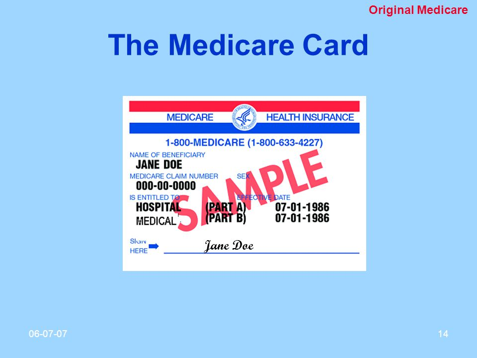The Medicare Card Jane Doe Original Medicare