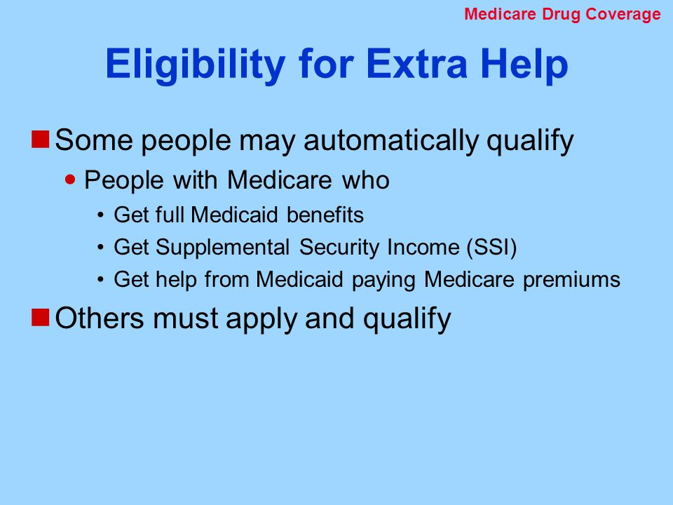 Eligibility for Extra Help Some people may automatically qualify People with Medicare who Get full Medicaid benefits Get Supplemental Security Income (SSI) Get help from Medicaid paying Medicare premiums Others must apply and qualify Medicare Drug Coverage