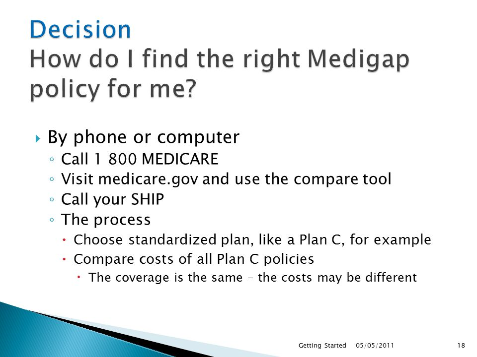  By phone or computer ◦ Call MEDICARE ◦ Visit medicare.gov and use the compare tool ◦ Call your SHIP ◦ The process  Choose standardized plan, like a Plan C, for example  Compare costs of all Plan C policies  The coverage is the same – the costs may be different 05/05/ Getting Started