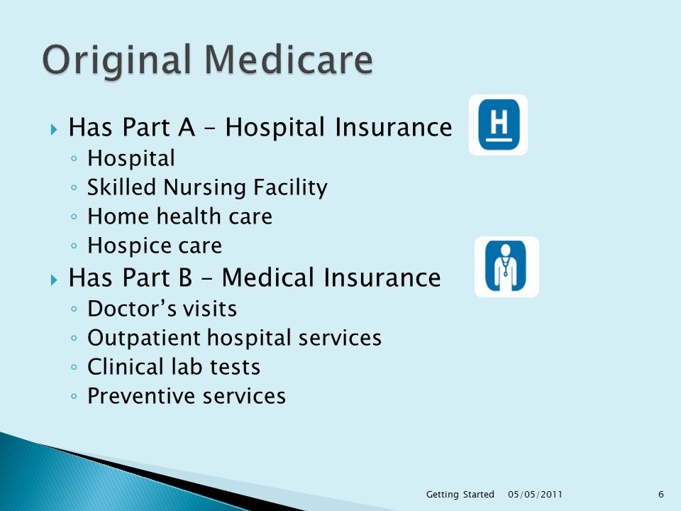  Has Part A – Hospital Insurance ◦ Hospital ◦ Skilled Nursing Facility ◦ Home health care ◦ Hospice care  Has Part B – Medical Insurance ◦ Doctor's visits ◦ Outpatient hospital services ◦ Clinical lab tests ◦ Preventive services 05/05/2011 6Getting Started