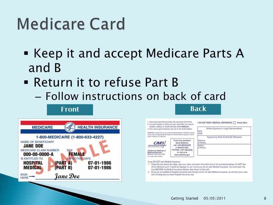 Jane Doe  Keep it and accept Medicare Parts A and B  Return it to refuse Part B – Follow instructions on back of card Front Back 05/05/2011 8Getting Started