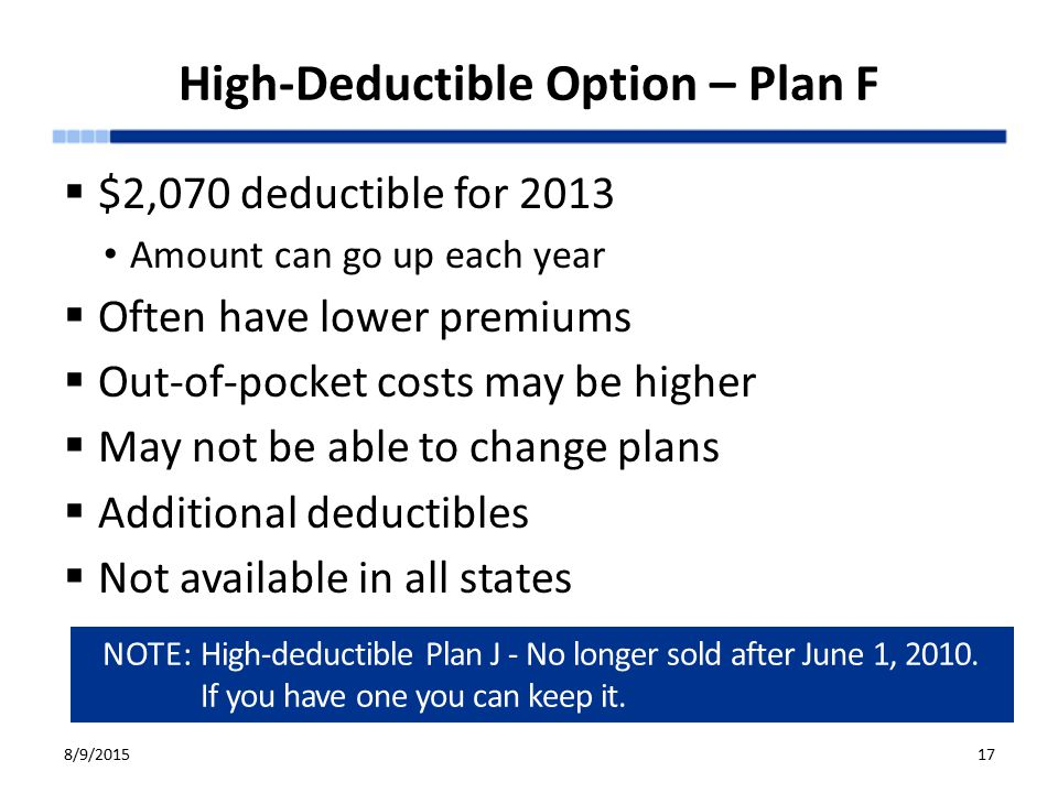 High-Deductible Option – Plan F  $2,070 deductible for 2013 Amount can go up each year  Often have lower premiums  Out-of-pocket costs may be higher  May not be able to change plans  Additional deductibles  Not available in all states 8/9/2015 Medigap (Medicare Supplement Insurance) Policies 17 NOTE: High-deductible Plan J - No longer sold after June 1, 2010.