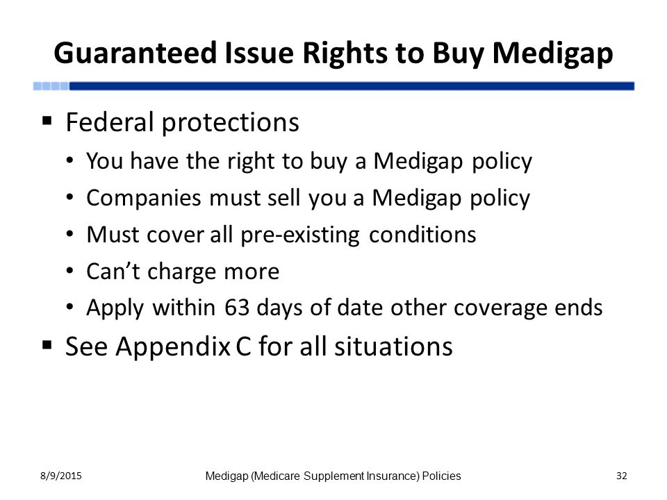 Guaranteed Issue Rights to Buy Medigap  Federal protections You have the right to buy a Medigap policy Companies must sell you a Medigap policy Must cover all pre-existing conditions Can't charge more Apply within 63 days of date other coverage ends  See Appendix C for all situations 8/9/2015 Medigap (Medicare Supplement Insurance) Policies 32