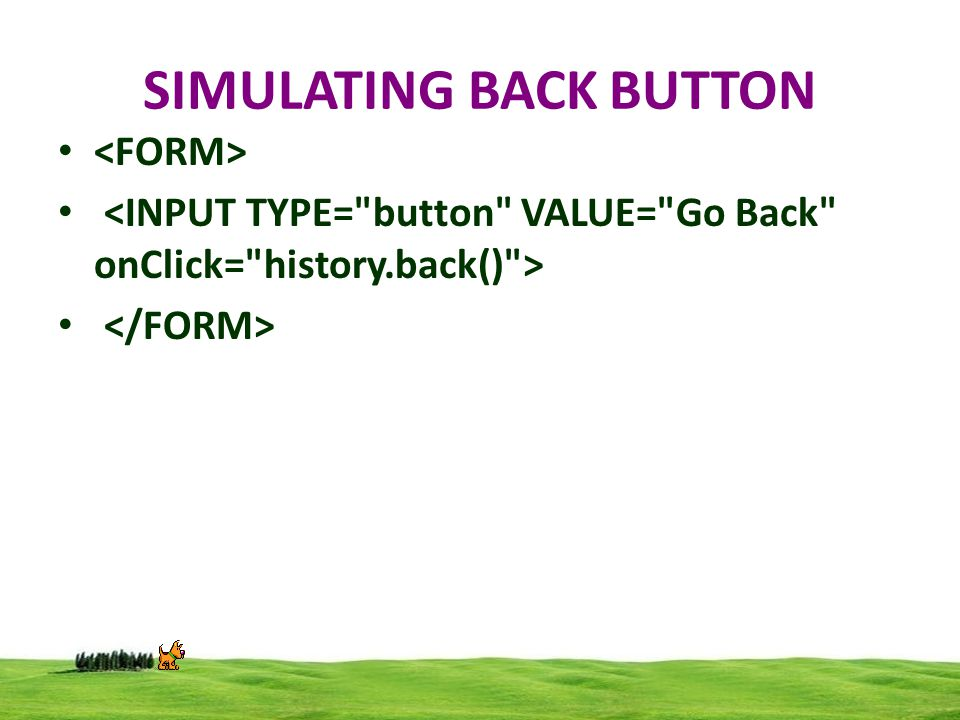 SIMULATING BACK BUTTON