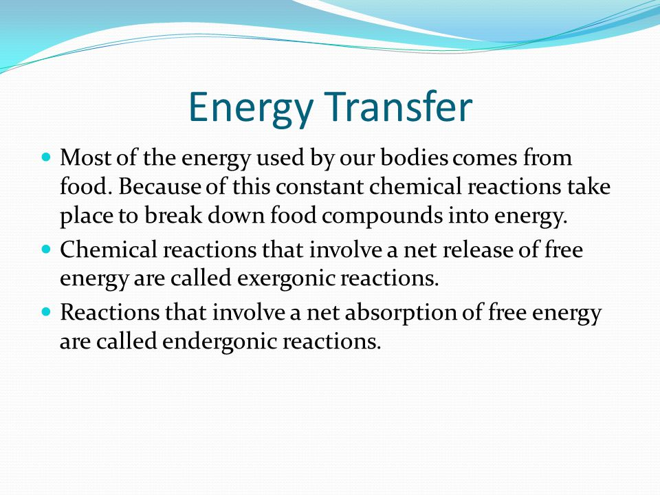Energy Transfer Most of the energy used by our bodies comes from food.