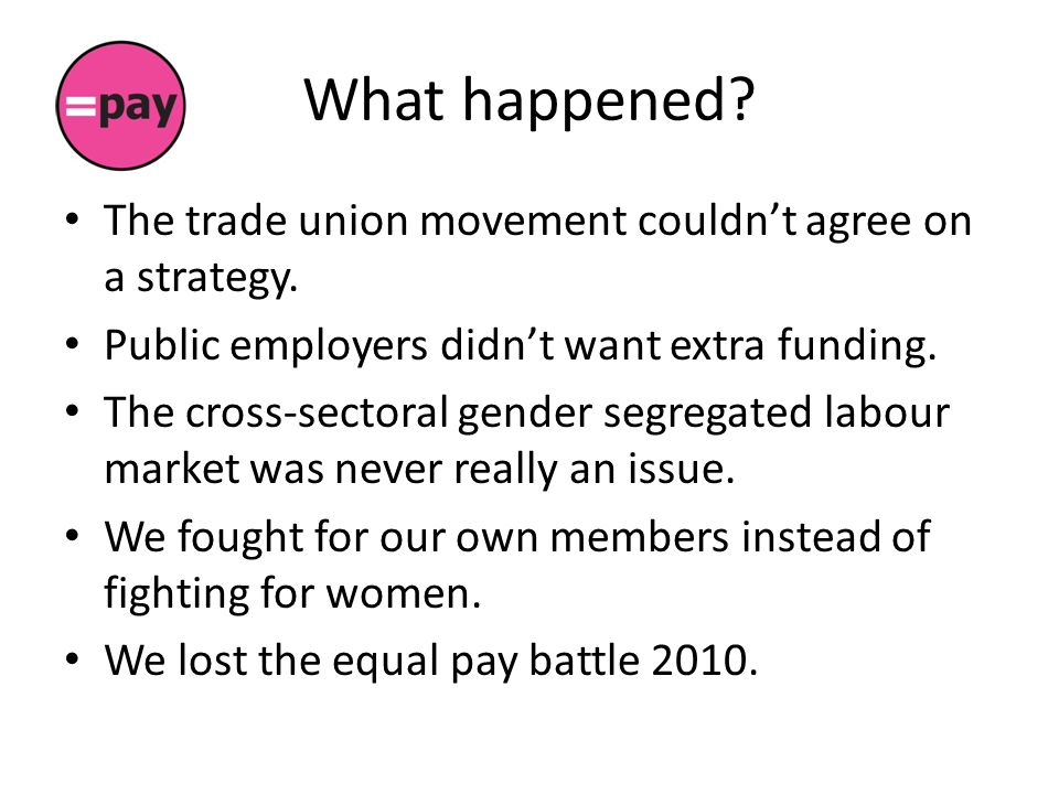 What happened. The trade union movement couldn't agree on a strategy.