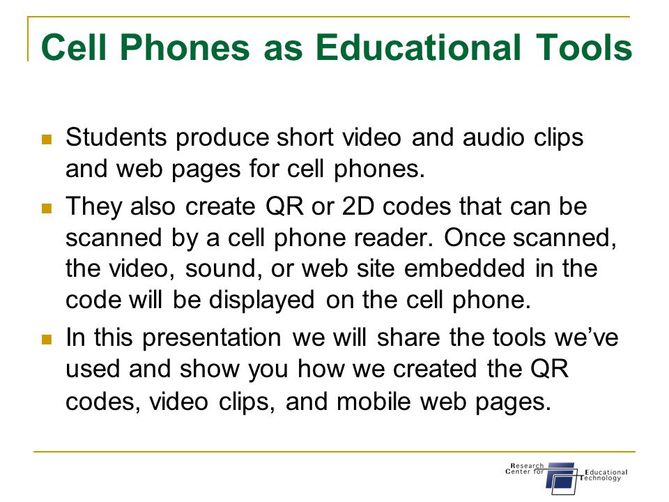 can cell phones be educational tools