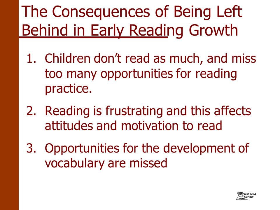 The Consequences of Being Left Behind in Early Reading Growth 1.
