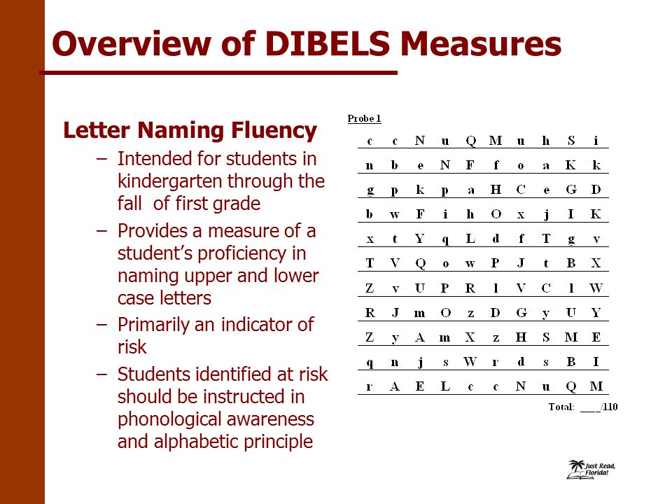 Overview of DIBELS Measures Letter Naming Fluency –Intended for students in kindergarten through the fall of first grade –Provides a measure of a student's proficiency in naming upper and lower case letters –Primarily an indicator of risk –Students identified at risk should be instructed in phonological awareness and alphabetic principle