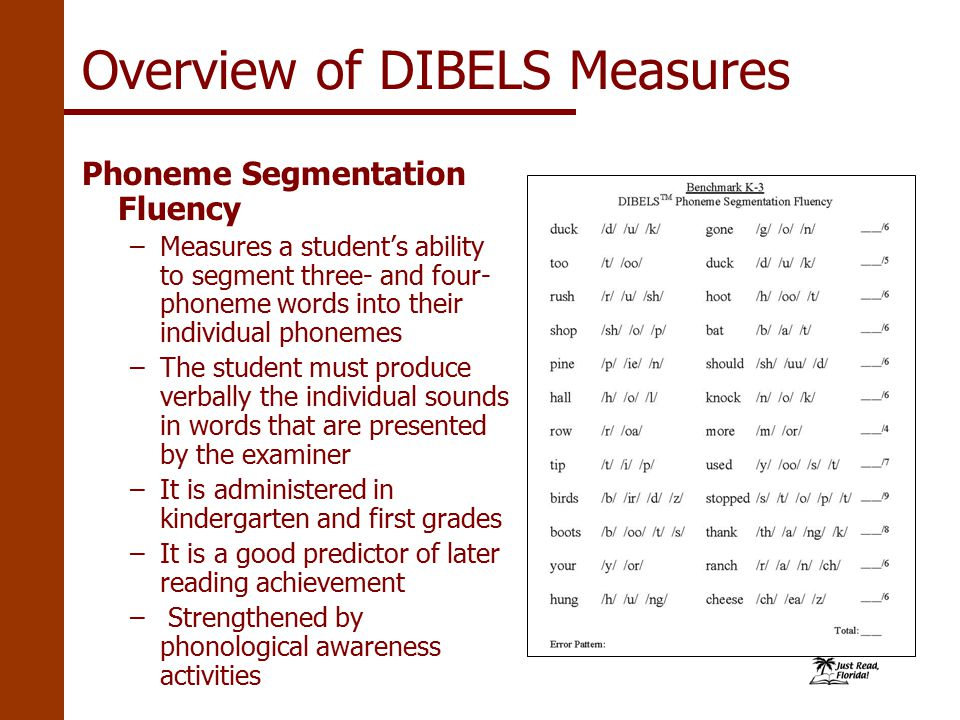 Phoneme Segmentation Fluency –Measures a student's ability to segment three- and four- phoneme words into their individual phonemes –The student must produce verbally the individual sounds in words that are presented by the examiner –It is administered in kindergarten and first grades –It is a good predictor of later reading achievement – Strengthened by phonological awareness activities