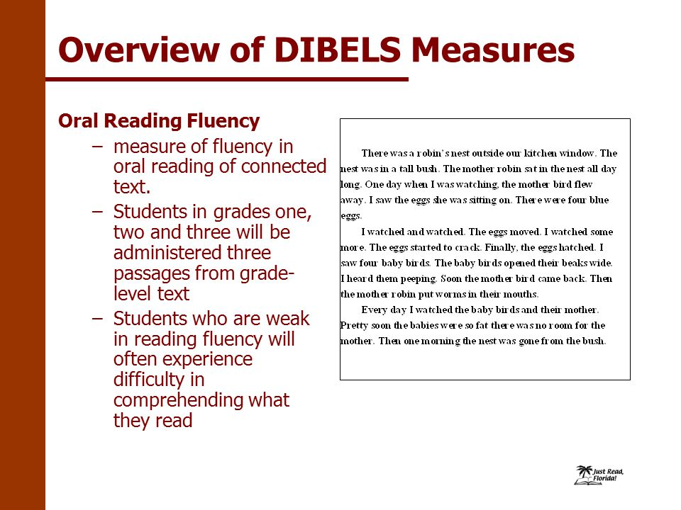 Overview of DIBELS Measures Oral Reading Fluency –measure of fluency in oral reading of connected text.