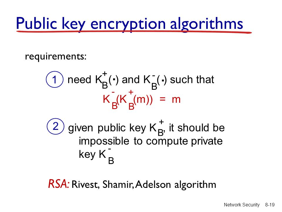 8-19Network Security Public key encryption algorithms need K ( ) and K ( ) such that B B..