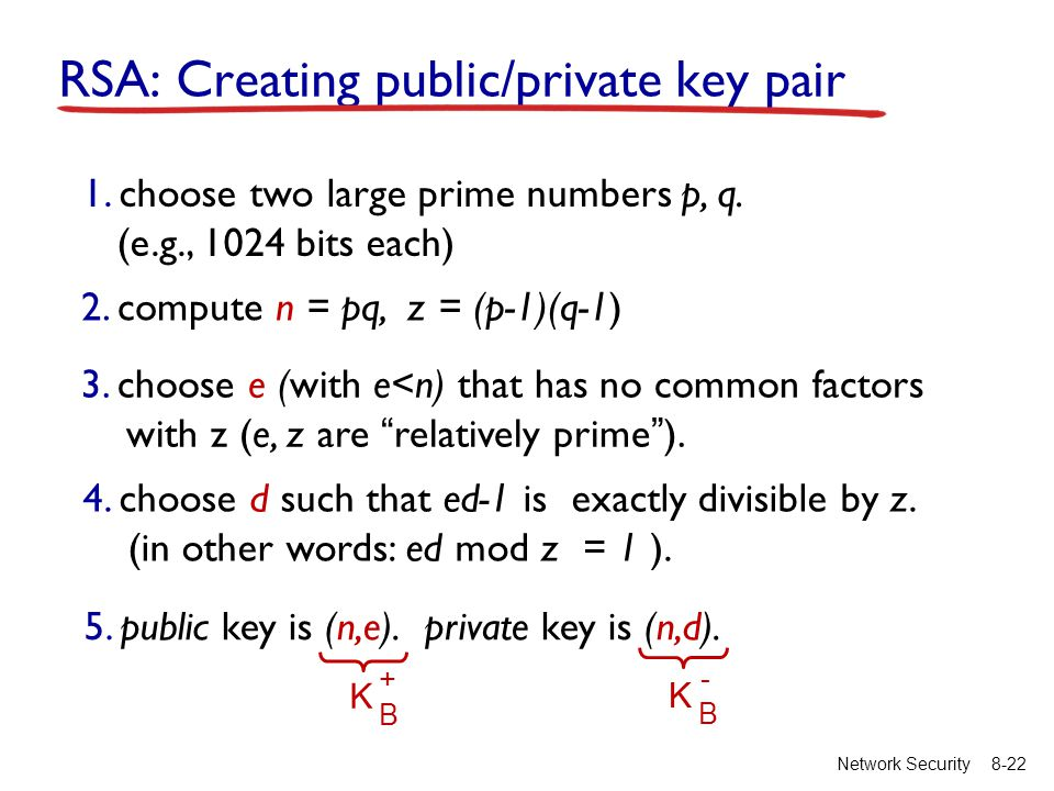 8-22Network Security RSA: Creating public/private key pair 1.