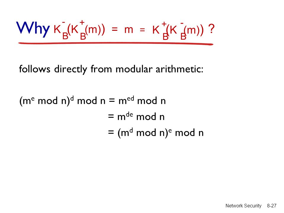 8-27Network Security follows directly from modular arithmetic: (m e mod n) d mod n = m ed mod n = m de mod n = (m d mod n) e mod n K ( K (m) ) = m B B - + K ( K (m) ) B B + - = Why