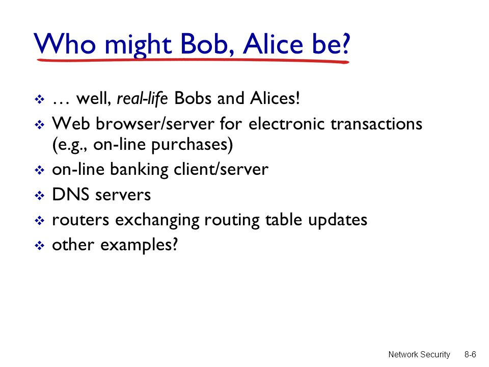 8-6Network Security Who might Bob, Alice be.  … well, real-life Bobs and Alices.