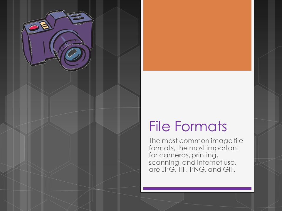 File Formats The most common image file formats, the most important for cameras, printing, scanning, and internet use, are JPG, TIF, PNG, and GIF.