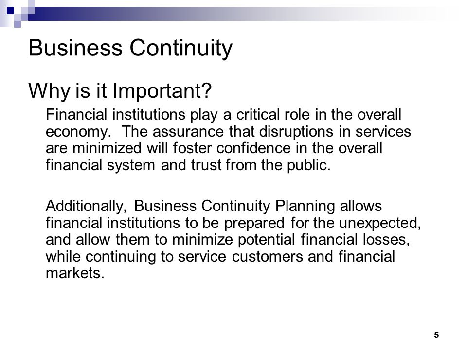 5 Business Continuity Why is it Important.