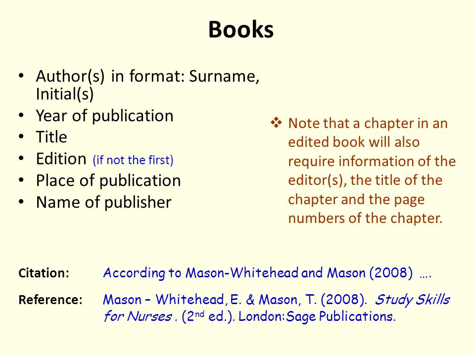 Books Author(s) in format: Surname, Initial(s) Year of publication Title Edition (if not the first) Place of publication Name of publisher  Note that a chapter in an edited book will also require information of the editor(s), the title of the chapter and the page numbers of the chapter.