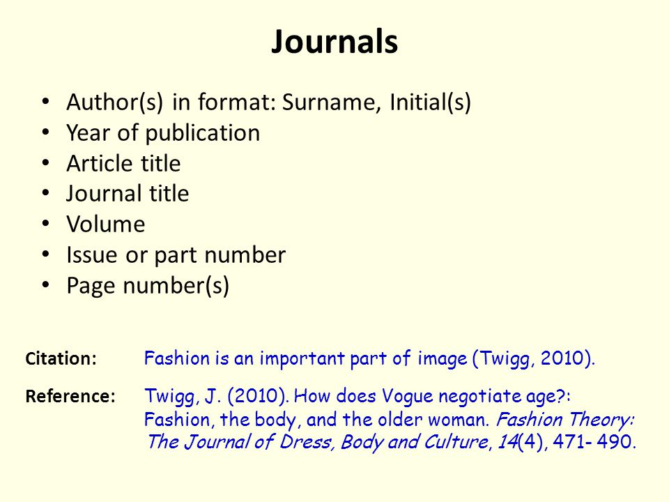 Journals Author(s) in format: Surname, Initial(s) Year of publication Article title Journal title Volume Issue or part number Page number(s) Citation: Fashion is an important part of image (Twigg, 2010).