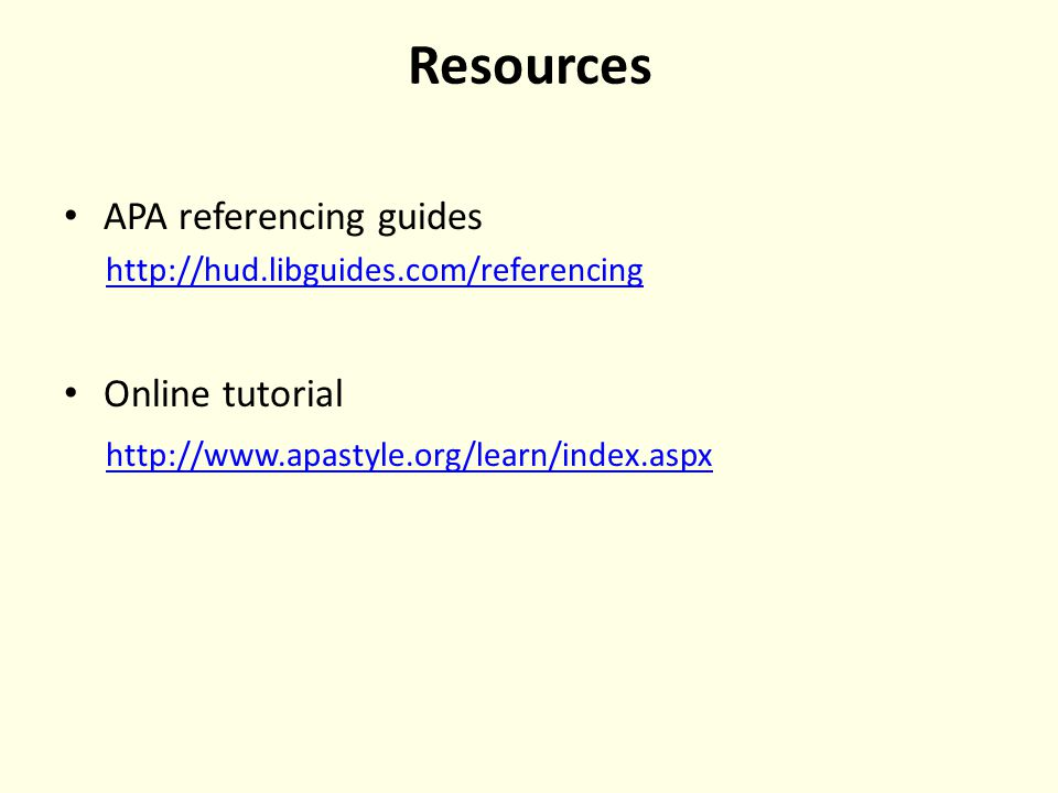 Resources APA referencing guides   Online tutorial