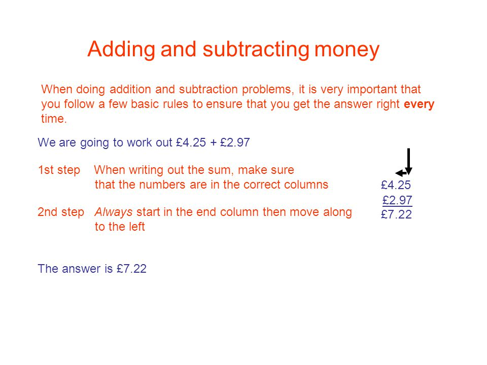 Adding And Subtracting Money When Doing Addition Subtraction Problems It Is Very Important That