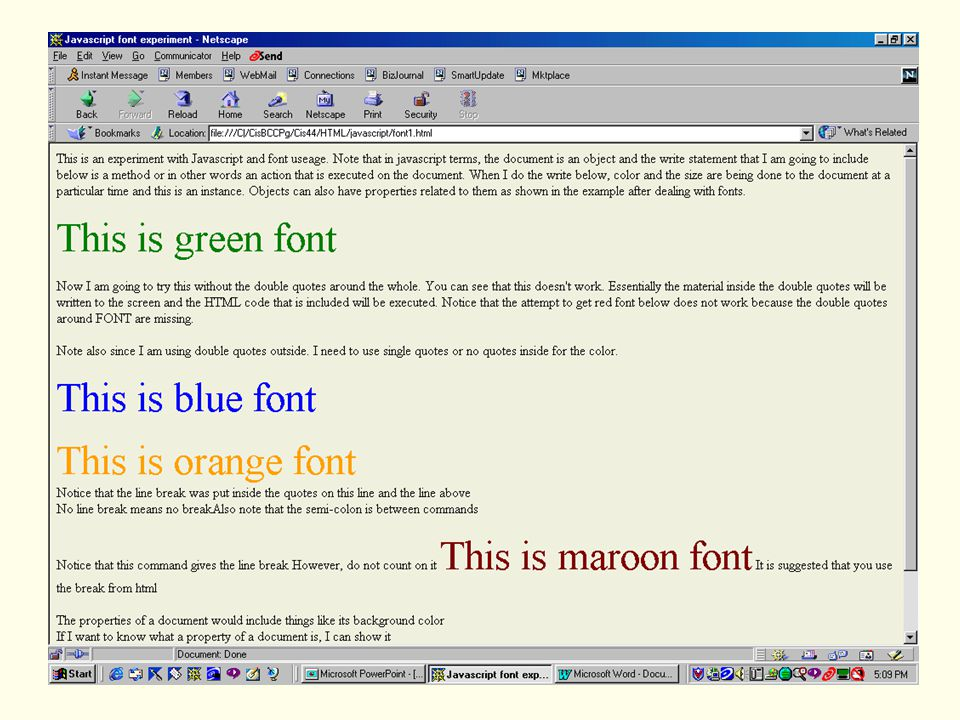 28 Javascript Font Experiment This Is An With And Useage Note That In Terms The Document Object Write