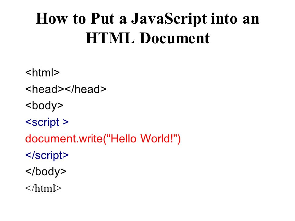 How to Put a JavaScript into an HTML Document document.write( Hello World! )