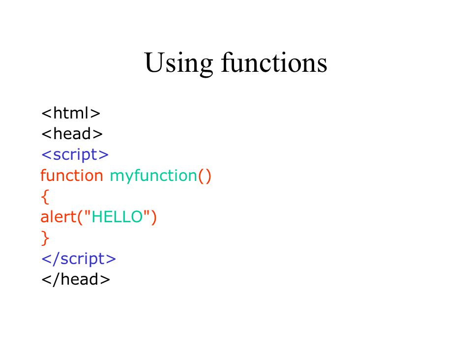 Using functions function myfunction() { alert( HELLO ) }