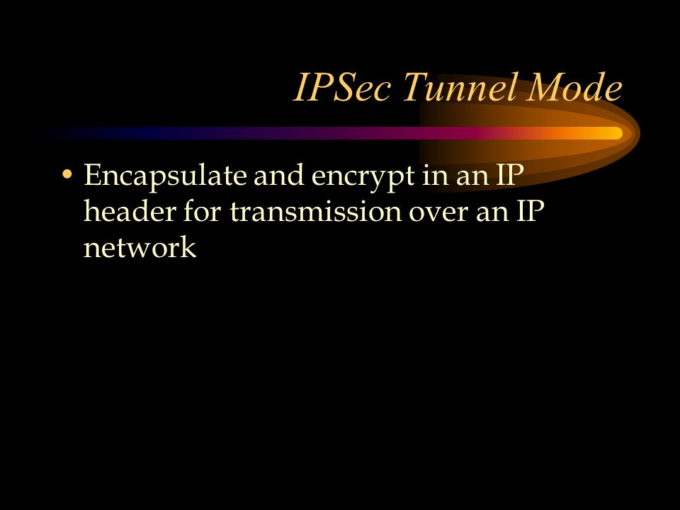 IPSec Tunnel Mode Encapsulate and encrypt in an IP header for transmission over an IP network