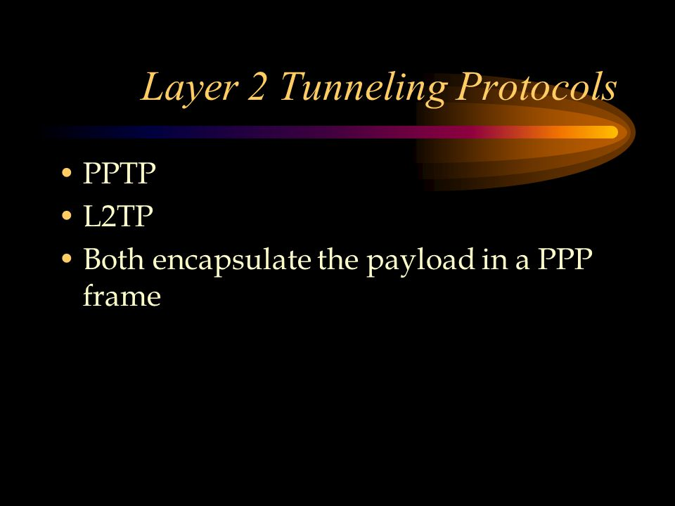 Layer 2 Tunneling Protocols PPTP L2TP Both encapsulate the payload in a PPP frame
