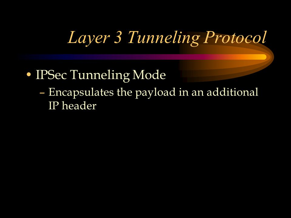 Layer 3 Tunneling Protocol IPSec Tunneling Mode –Encapsulates the payload in an additional IP header