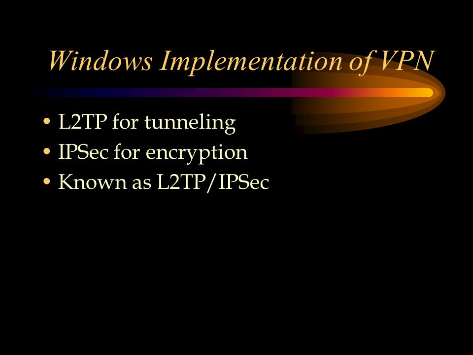 Windows Implementation of VPN L2TP for tunneling IPSec for encryption Known as L2TP/IPSec