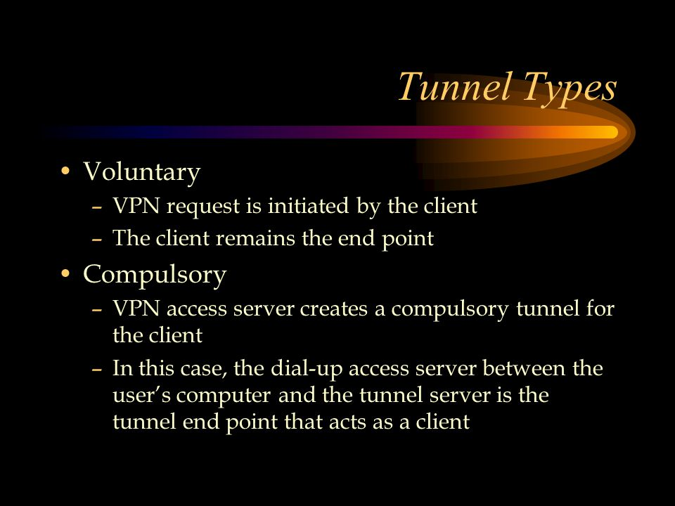 Tunnel Types Voluntary –VPN request is initiated by the client –The client remains the end point Compulsory –VPN access server creates a compulsory tunnel for the client –In this case, the dial-up access server between the user's computer and the tunnel server is the tunnel end point that acts as a client