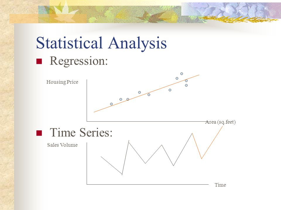 Statistical Analysis Regression: Time Series: Housing Price Area (sq.feet) Sales Volume Time