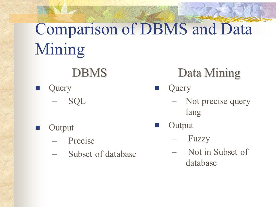 Comparison of DBMS and Data Mining DBMS Query – SQL Output – Precise – Subset of database Data Mining Query –Not precise query lang Output – Fuzzy – Not in Subset of database