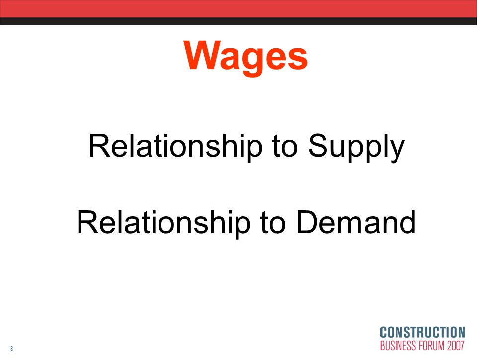 18 Wages Relationship to Supply Relationship to Demand
