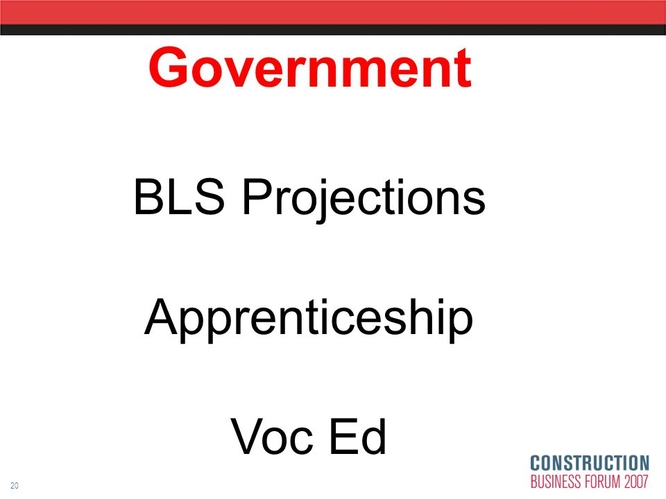 20 Government BLS Projections Apprenticeship Voc Ed