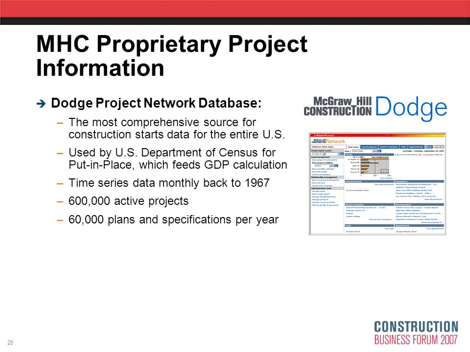 26 MHC Proprietary Project Information  Dodge Project Network Database: –The most comprehensive source for construction starts data for the entire U.S.