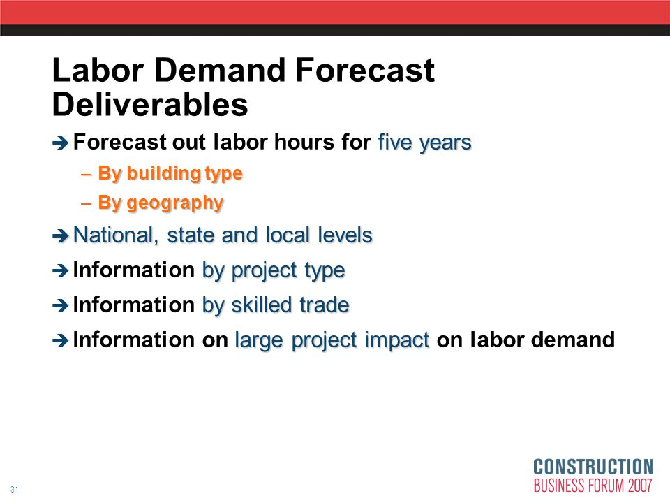 31 Labor Demand Forecast Deliverables five years  Forecast out labor hours for five years –By building type –By geography  National, state and local levels by project type  Information by project type by skilled trade  Information by skilled trade large project impact  Information on large project impact on labor demand
