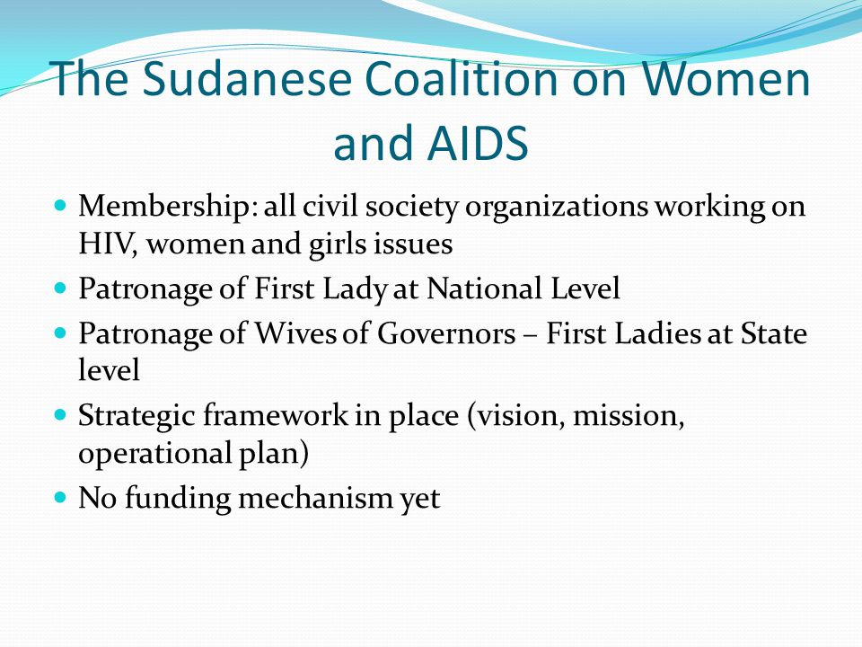 The Sudanese Coalition on Women and AIDS Membership: all civil society organizations working on HIV, women and girls issues Patronage of First Lady at National Level Patronage of Wives of Governors – First Ladies at State level Strategic framework in place (vision, mission, operational plan) No funding mechanism yet