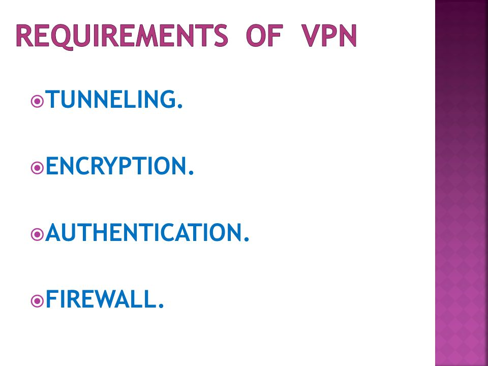  TUNNELING.  ENCRYPTION.  AUTHENTICATION.  FIREWALL.