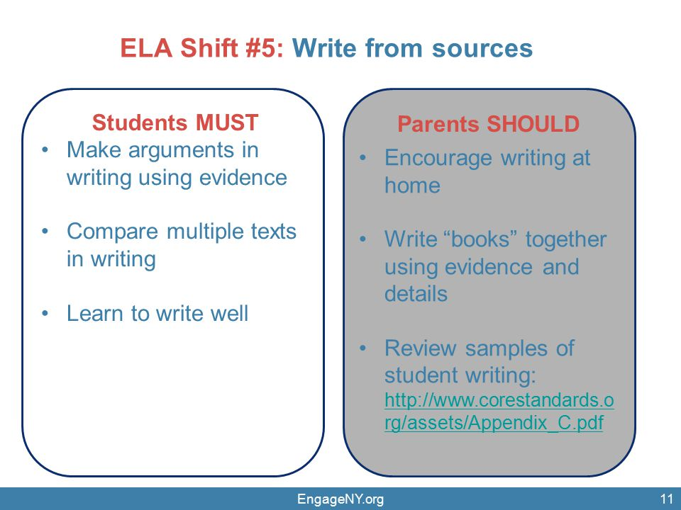 EngageNY.org11 Parents SHOULD Students MUST Make arguments in writing using evidence Compare multiple texts in writing Learn to write well Encourage writing at home Write books together using evidence and details Review samples of student writing:   rg/assets/Appendix_C.pdf   rg/assets/Appendix_C.pdf ELA Shift #5: Write from sources