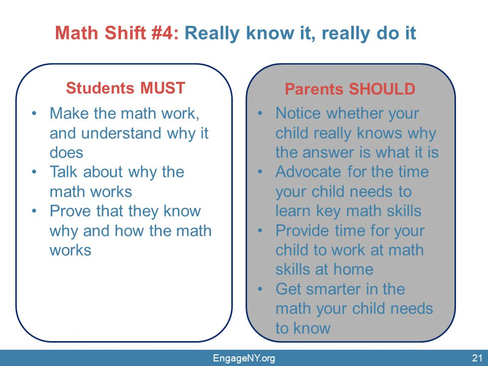 EngageNY.org21 Parents SHOULD Students MUST Make the math work, and understand why it does Talk about why the math works Prove that they know why and how the math works Notice whether your child really knows why the answer is what it is Advocate for the time your child needs to learn key math skills Provide time for your child to work at math skills at home Get smarter in the math your child needs to know Math Shift #4: Really know it, really do it